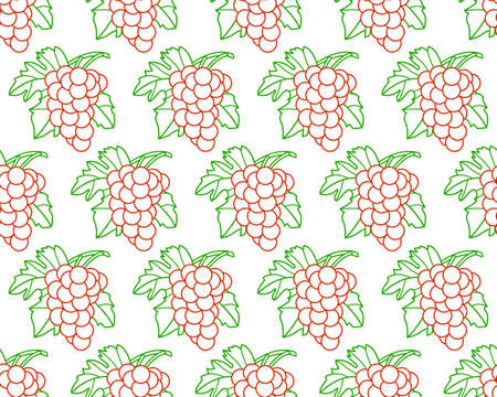 vitis: Seamless pattern of the contour grapes bunches