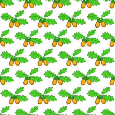 glans: Seamless pattern of the oak branch with acorn fruits