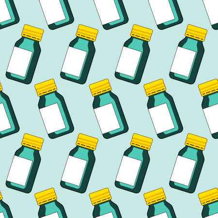 tinted glasses: Seamless pattern of the small glass bottles Illustration
