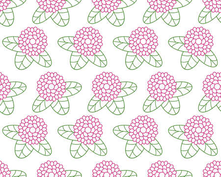 contour: Seamless pattern of the contour clover flowers
