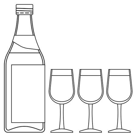 bender: Illustration of the contour bottle and three glasses