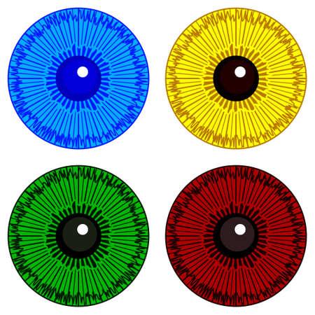 Illustration of the cartoon eye iris set