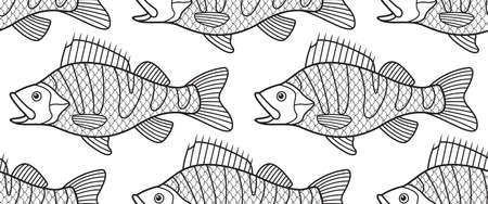 limnetic: Seamless pattern of the cartoon contour bass fish