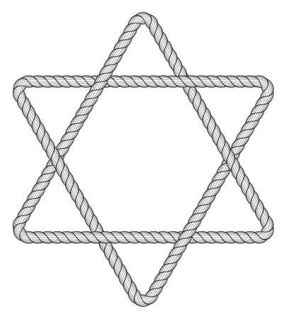 hexagram: Illustration of the abstract rope hexagram icon