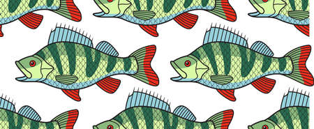 limnetic: Seamless pattern of the cartoon bass fish