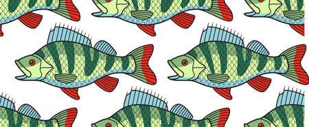 riverine: Seamless pattern of the cartoon bass fish