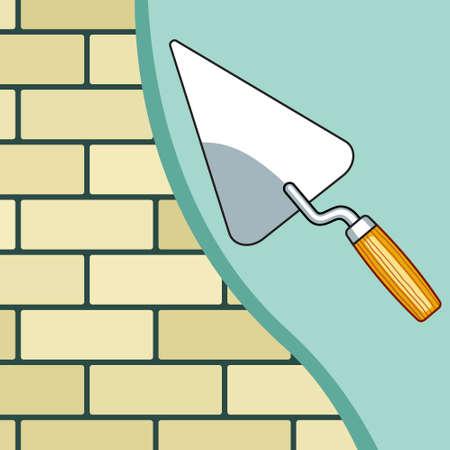 plastering: Illustration of the plastering brick wall Illustration