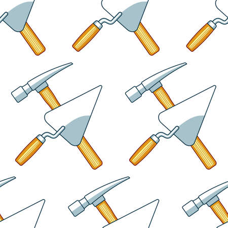 Seamless pattern of the crossing hammer and trowel