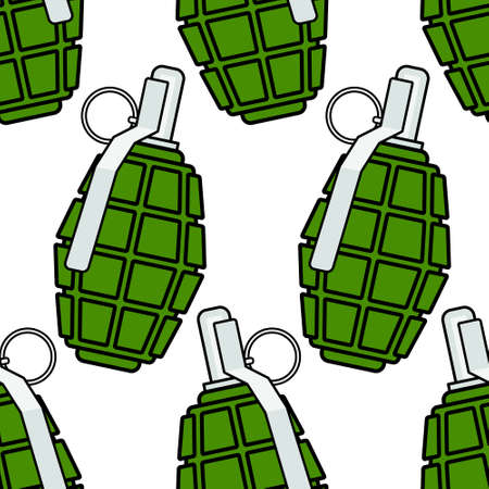 shrapnel: Seamless pattern of the military grenades