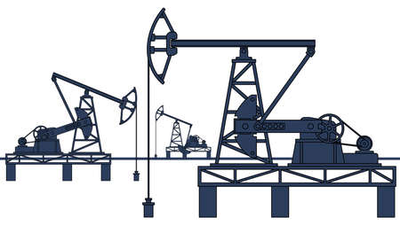 hydrocarbons: Industrial illustration with the oil pumpjack derricks