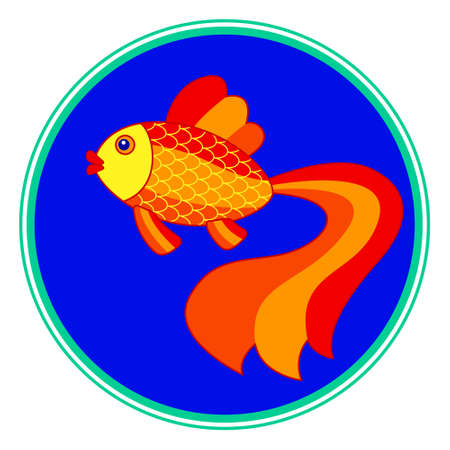 Illustration of the cartoon gold fish on round window Illustration