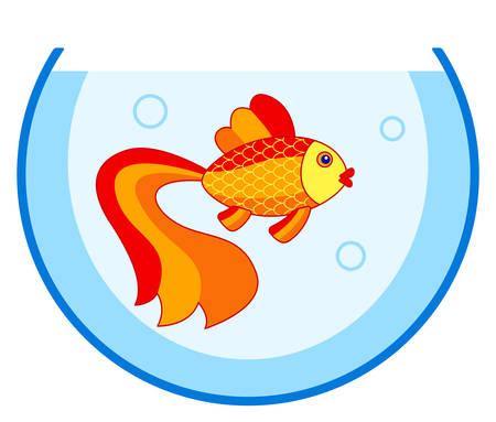 Illustration of the cartoon gold fish in aquarium Illustration