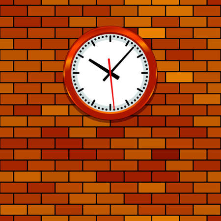 Illustration of the clock on brick wall
