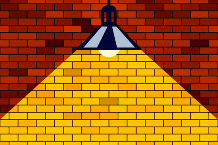 Illustration of the brick wall and lamp