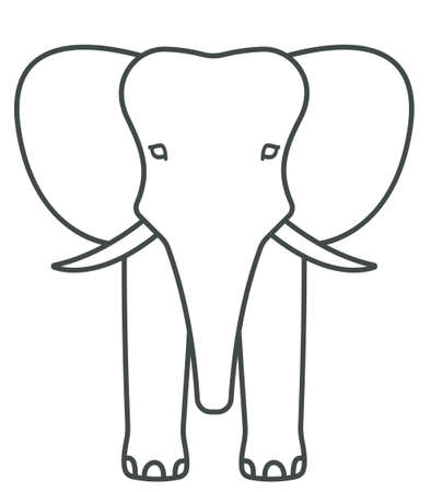 proboscis: Illustration of the cartoon contour elephant face icon