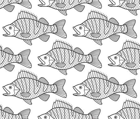 limnetic: Seamless pattern of the cartoon contour bass fish shoal Illustration