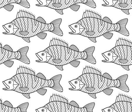 riverine: Seamless pattern of the cartoon contour bass fish shoal Illustration
