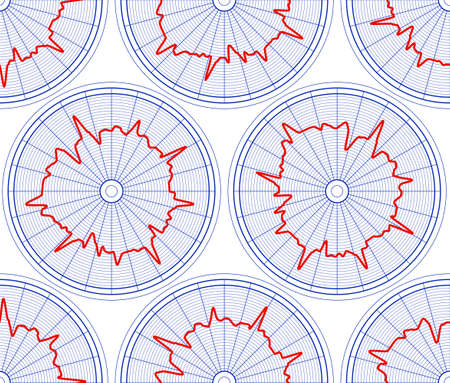 Seamless pattern of the abstract hourly circle diagrams Illustration