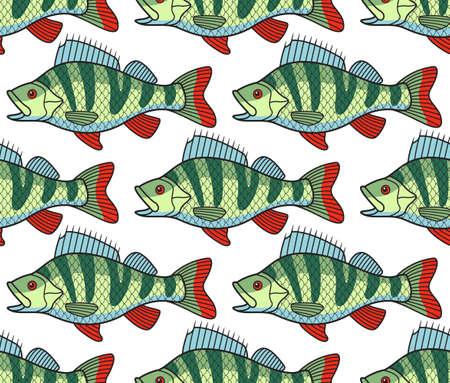 shoal: Seamless pattern of the bass fish shoal