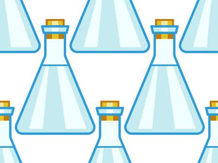 Seamless pattern of the laboratory flasks Çizim
