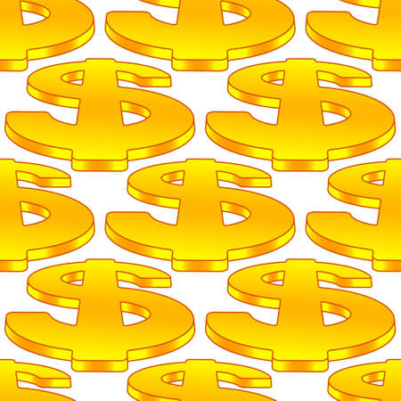 Seamless pattern of the dollar symbols Illustration