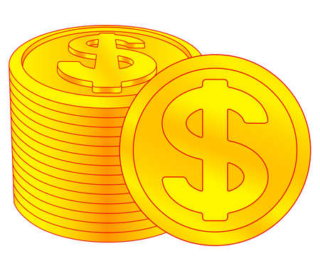 Illustration of the abstract gold dollars