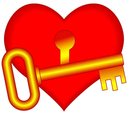 Concept illustration of the key and heart with keyhole Illustration