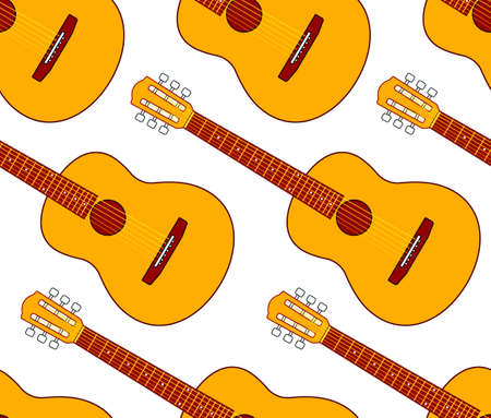 acoustic: Seamless pattern of the acoustic guitars Illustration