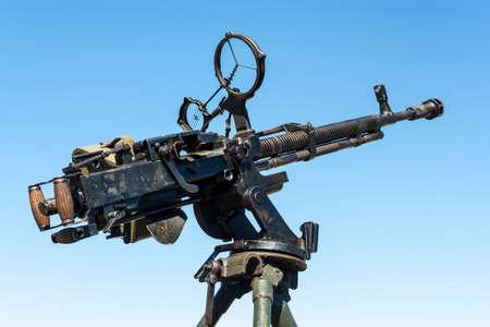 Vintage soviet antiaircraft heavy large-caliber machinegun Stock Photo