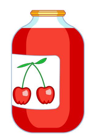 provision: Illustration of the cherry juice on glass jar