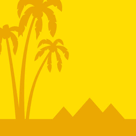 Illustration of the minimal art landscape with palms and pyramids Illustration