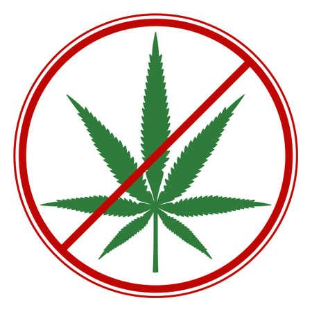 Illustratie van het cannabisverbodsymbool Stock Illustratie
