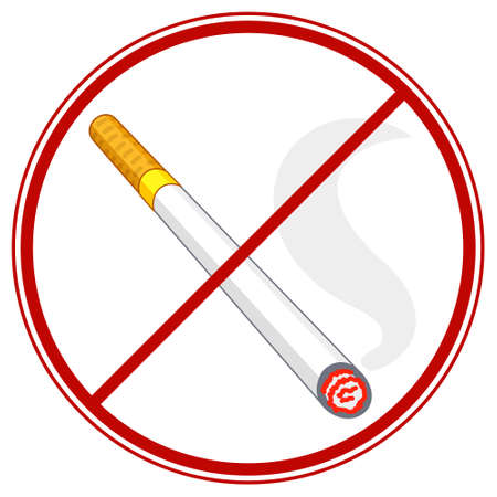 Illustration of the burning cigarette ban symbol