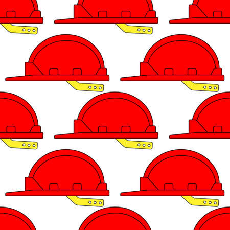 Seamless pattern of the safety hard hats