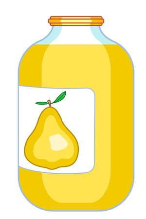 provision: Illustration of the pear juice on glass jar