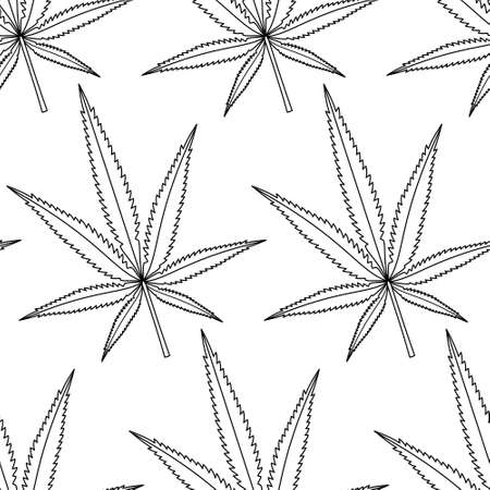 weeds: Seamless pattern of the cannabis contour leaves