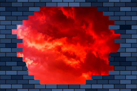 Broken brick wall and sky 일러스트