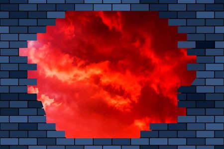 Broken brick wall and sky Illustration