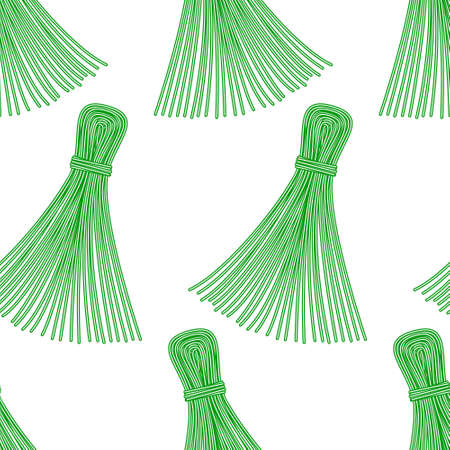 whisk broom: Seamless pattern of the thread tassels Illustration