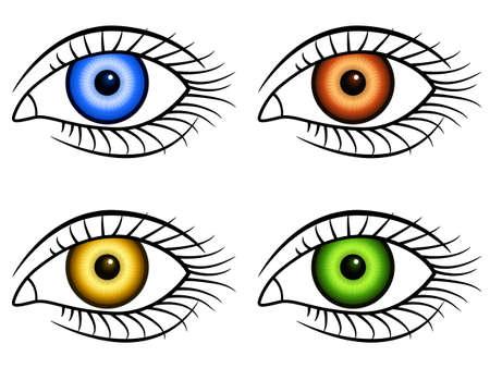 Illustration of the human eyes icon set