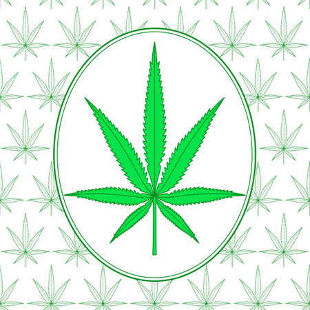 Seamless pattern and icon of cannabis leaf Illustration