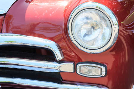 revetment: Front view of the vintage car closeup Stock Photo