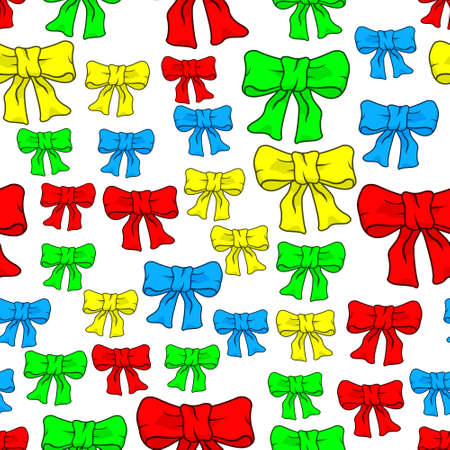 Seamless pattern of the color bow knots Illustration