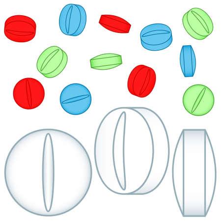 Illustration of the medicine tablets set Illustration