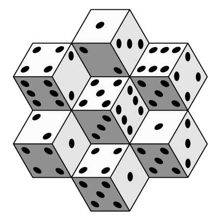 Illustration of the abstract dice cubes composition Illustration
