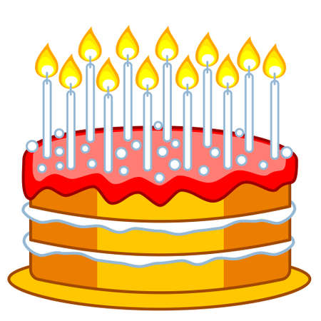 Illustration of the birthday cake with candles