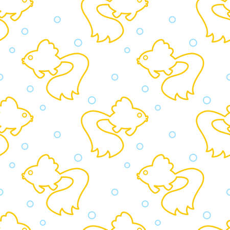crucian carp: Seamless pattern of the cartoon contour gold fish. Use for fabric texture, packaging, wallpaper, etc Illustration