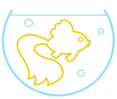 Illustration of the cartoon contour gold fish in aquarium