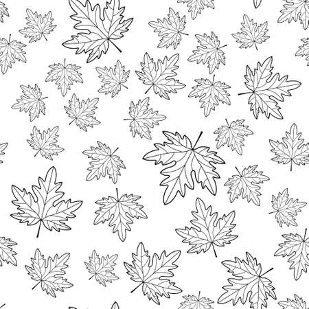 Seamless pattern of the random contour maple leaves Illustration