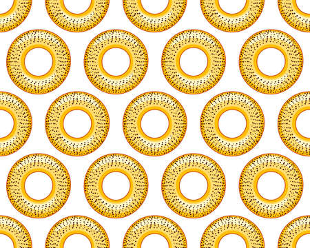 Seamless pattern of the sweet poppy bagels Çizim